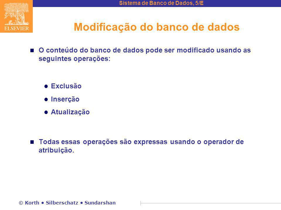 Sistema de Banco de Dados, 5/E © Korth Silberschatz Sundarshan Modificação do banco de dados n O conteúdo do banco de dados pode ser modificado usando