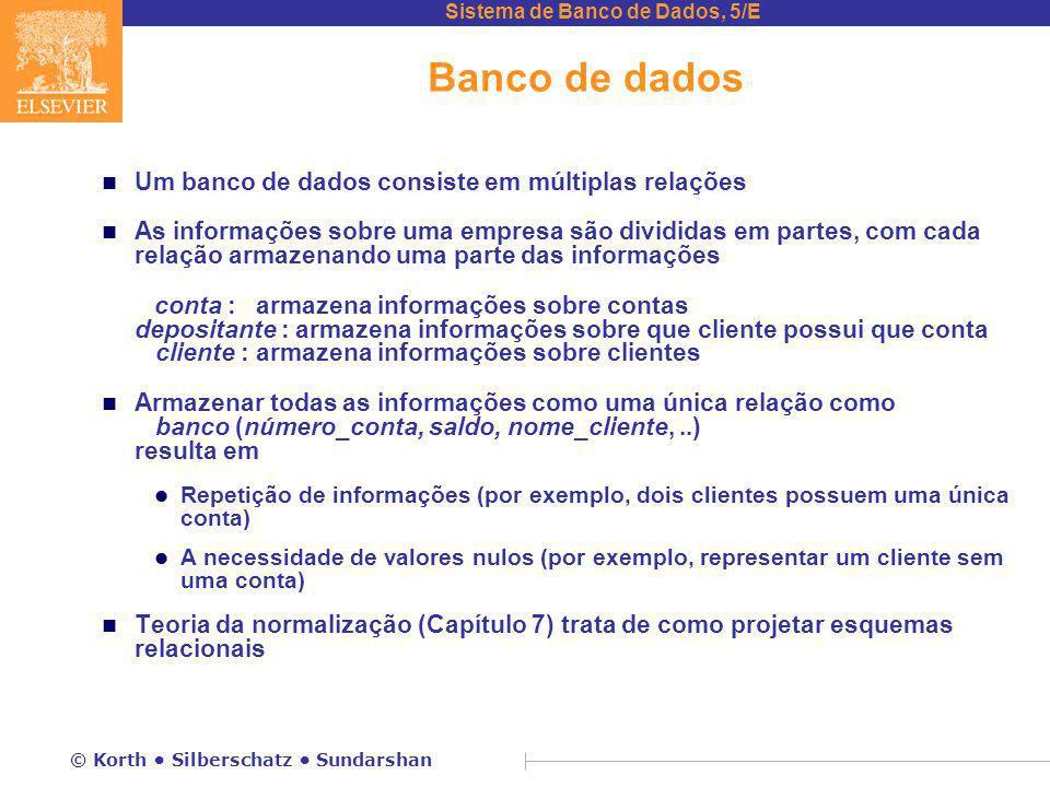 Sistema de Banco de Dados, 5/E © Korth Silberschatz Sundarshan Banco de dados n Um banco de dados consiste em múltiplas relações n As informações sobr