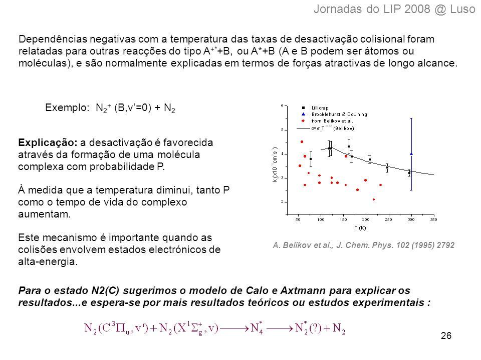 26 Dependências negativas com a temperatura das taxas de desactivação colisional foram relatadas para outras reacções do tipo A +* +B, ou A*+B (A e B podem ser átomos ou moléculas), e são normalmente explicadas em termos de forças atractivas de longo alcance.