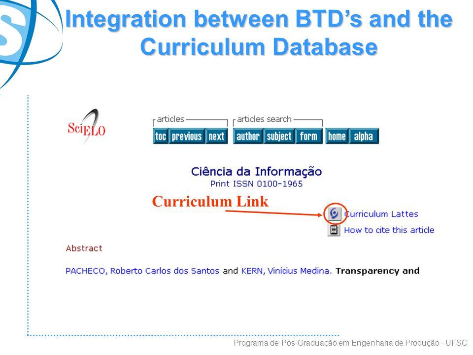 Integration between BTD's and the Curriculum Database Programa de Pós-Graduação em Engenharia de Produção - UFSC Curriculum Link
