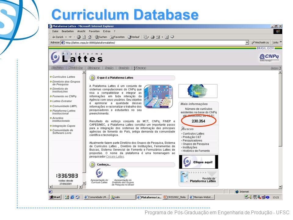 Curriculum Database Programa de Pós-Graduação em Engenharia de Produção - UFSC