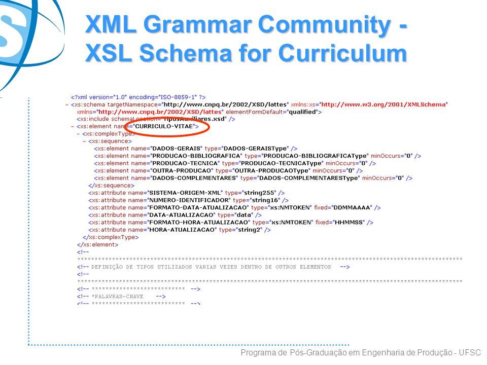 XML Grammar Community - XSL Schema for Curriculum Programa de Pós-Graduação em Engenharia de Produção - UFSC