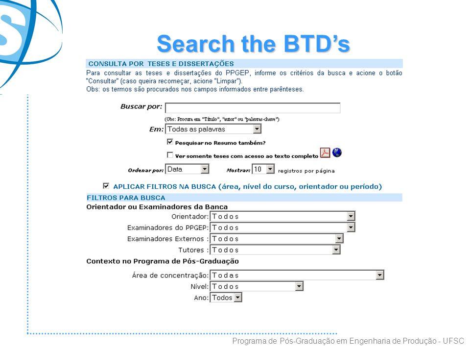 Search the BTD's Programa de Pós-Graduação em Engenharia de Produção - UFSC