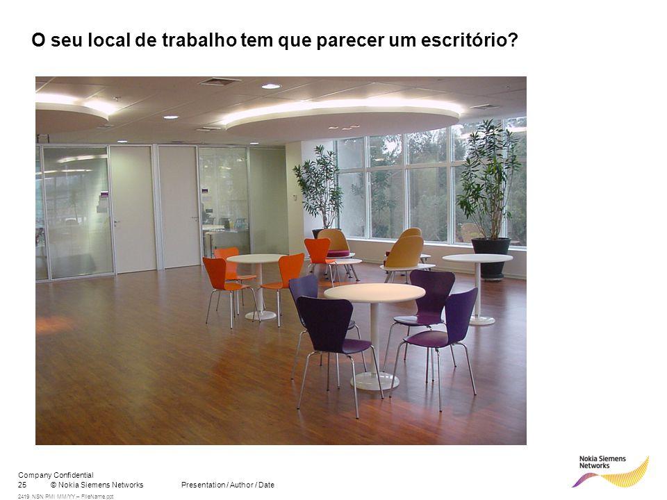 25© Nokia Siemens Networks Presentation / Author / Date Company Confidential 2419 NSN PMI MM/YY – FileName.ppt O seu local de trabalho tem que parecer um escritório