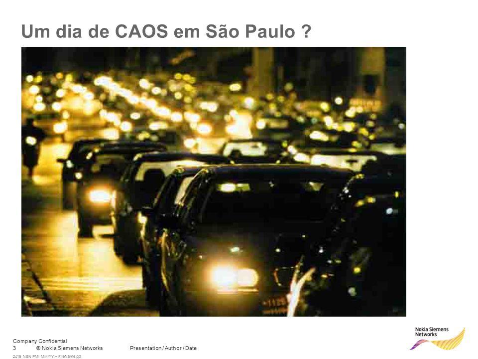 3© Nokia Siemens Networks Presentation / Author / Date Company Confidential 2419 NSN PMI MM/YY – FileName.ppt Um dia de CAOS em São Paulo