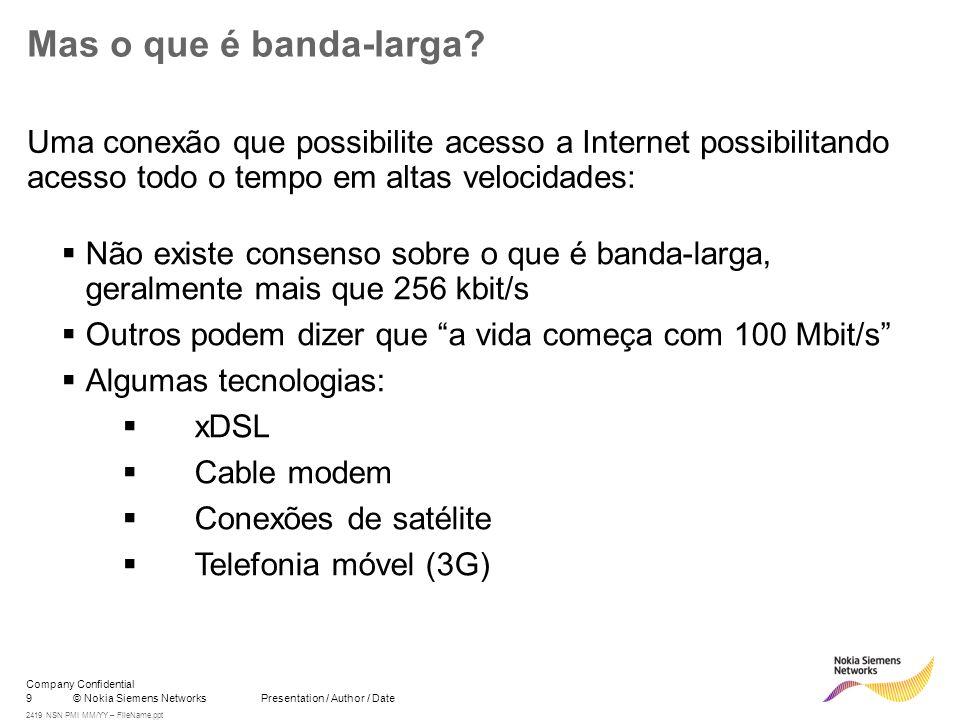 9© Nokia Siemens Networks Presentation / Author / Date Company Confidential 2419 NSN PMI MM/YY – FileName.ppt Mas o que é banda-larga? Uma conexão que