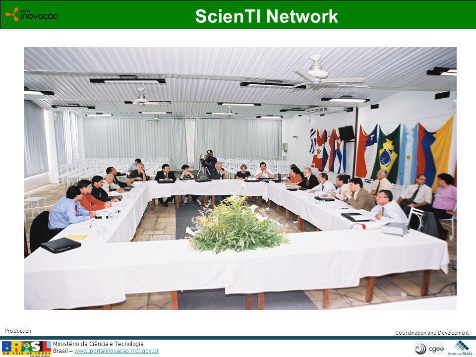Ministério da Ciência e Tecnologia Brasil – www.portalinovacao.mct.gov.brwww.portalinovacao.mct.gov.br Coordination and Development Production ScienTI