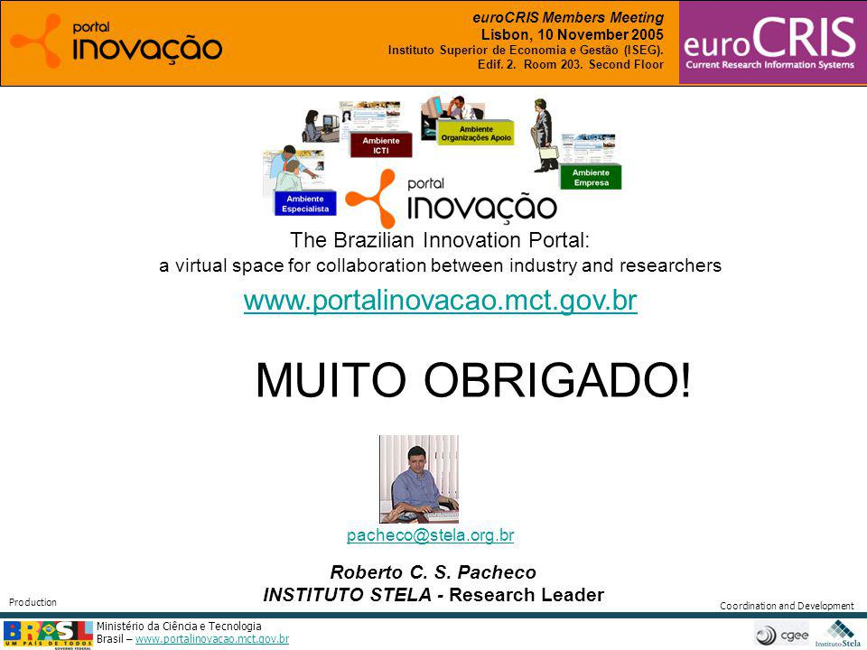 Ministério da Ciência e Tecnologia Brasil – www.portalinovacao.mct.gov.brwww.portalinovacao.mct.gov.br Coordination and Development Production Roberto