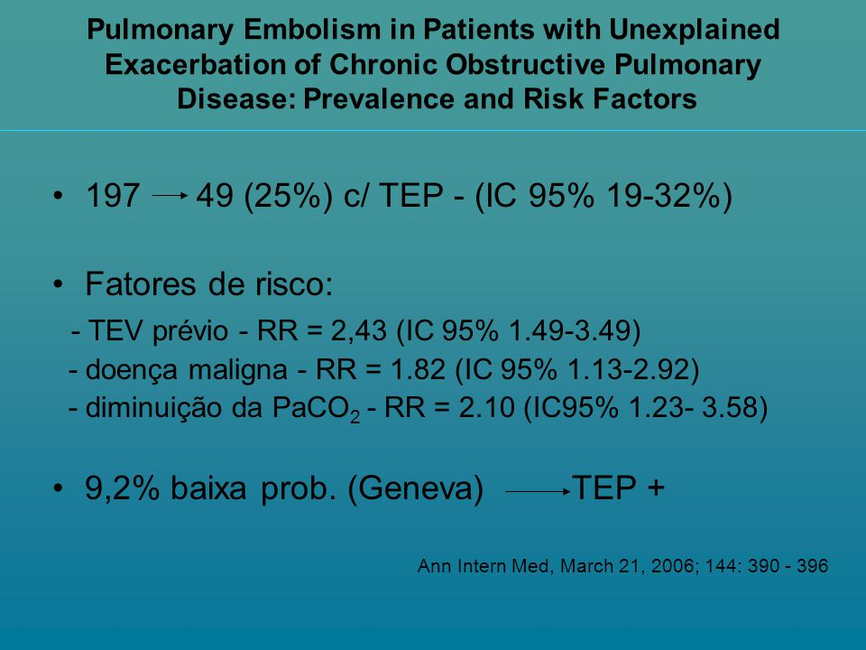 Pulmonary Embolism in Patients with Unexplained Exacerbation of Chronic Obstructive Pulmonary Disease: Prevalence and Risk Factors 197 49 (25%) c/ TEP
