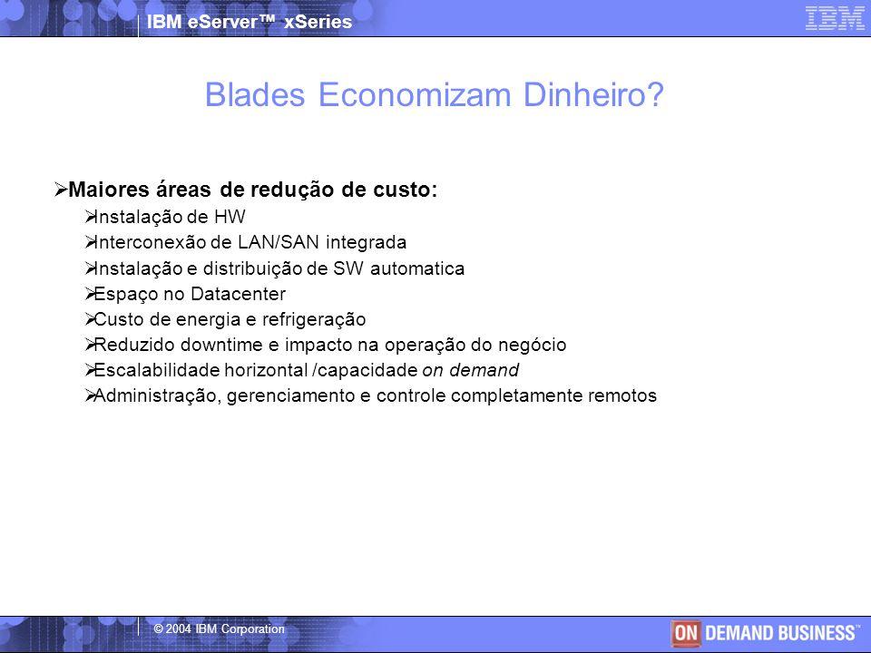 IBM eServer™ xSeries © 2004 IBM Corporation Blades Economizam Dinheiro.