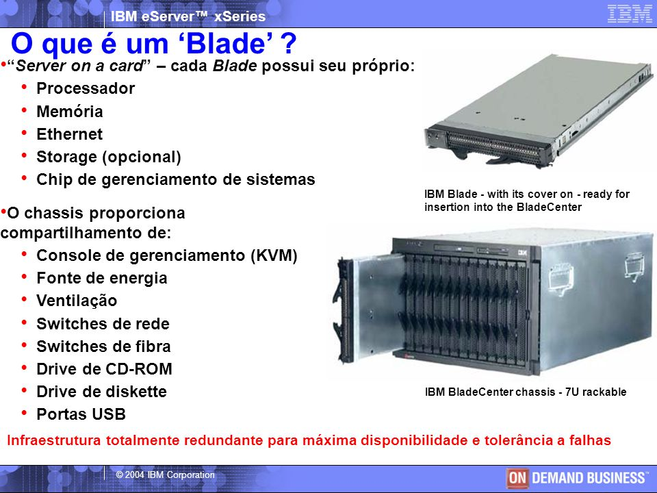 "IBM eServer™ xSeries © 2004 IBM Corporation IBM Blade - with its cover on - ready for insertion into the BladeCenter ""Server on a card"" – cada Blade p"