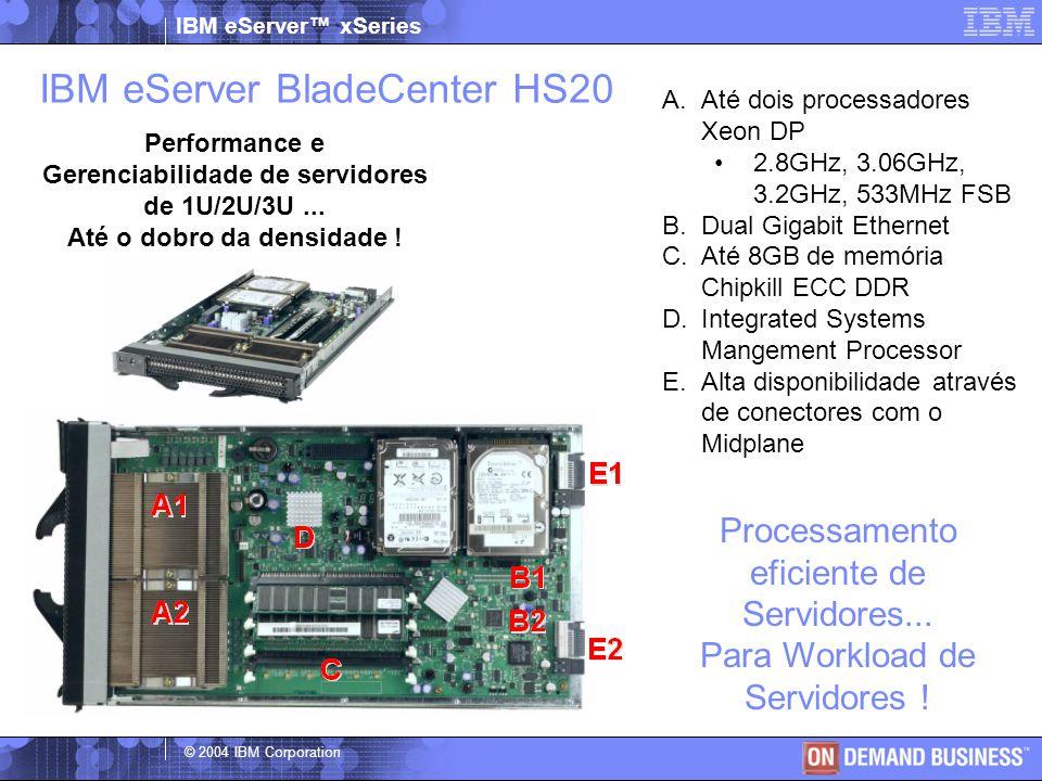 IBM eServer™ xSeries © 2004 IBM Corporation IBM eServer BladeCenter HS40 Até tres vezes de densidade Processadores 4-Way Até 4 processadores de 3.0GHz/4MB Cache Processors Até 16GB de memória RAM (8 DIMM Sockets) 4 placas de reder Ethernet Onboard Dual PCI Expansion slots 60mm (Double-wide) Chassis suporta 7 servidores por BladeCenter Chassis.