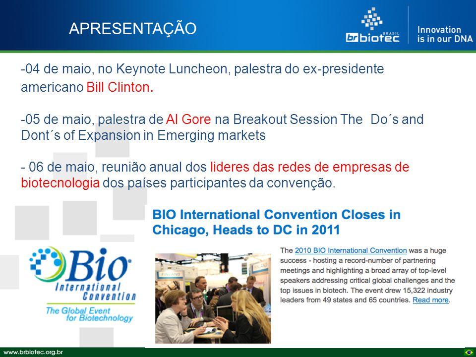 APRESENTAÇÃO -04 de maio, no Keynote Luncheon, palestra do ex-presidente americano Bill Clinton. -05 de maio, palestra de Al Gore na Breakout Session