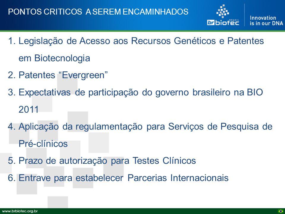 """PONTOS CRITICOS A SEREM ENCAMINHADOS 1.Legislação de Acesso aos Recursos Genéticos e Patentes em Biotecnologia 2.Patentes """"Evergreen"""" 3.Expectativas d"""