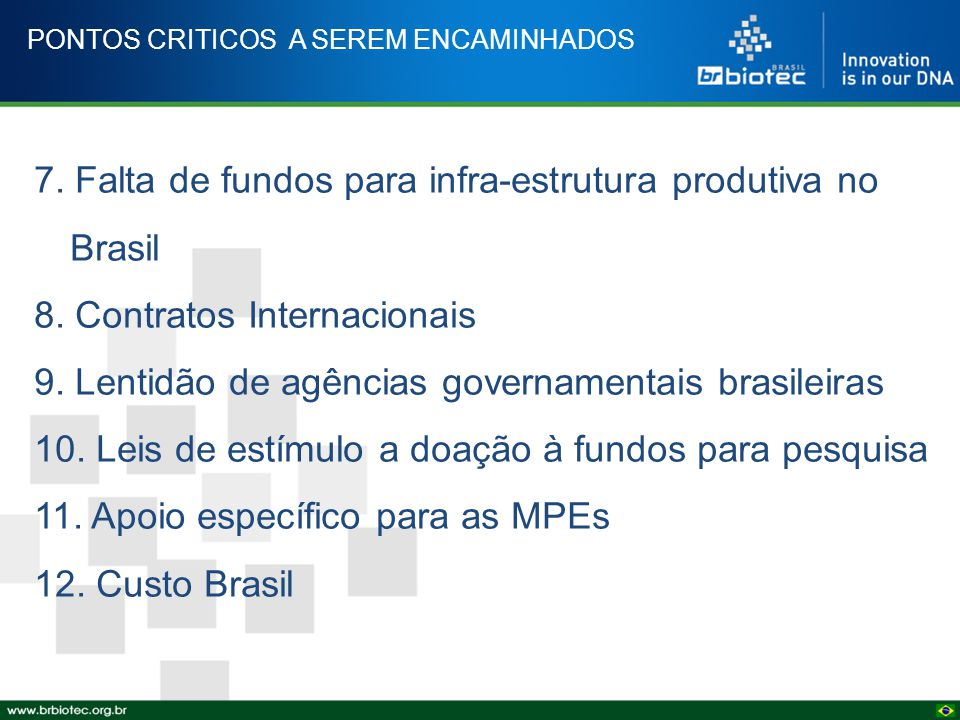 PONTOS CRITICOS A SEREM ENCAMINHADOS 7. Falta de fundos para infra-estrutura produtiva no Brasil 8. Contratos Internacionais 9. Lentidão de agências g