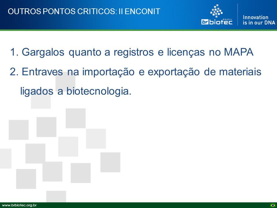 OUTROS PONTOS CRITICOS: II ENCONIT 1. Gargalos quanto a registros e licenças no MAPA 2. Entraves na importação e exportação de materiais ligados a bio