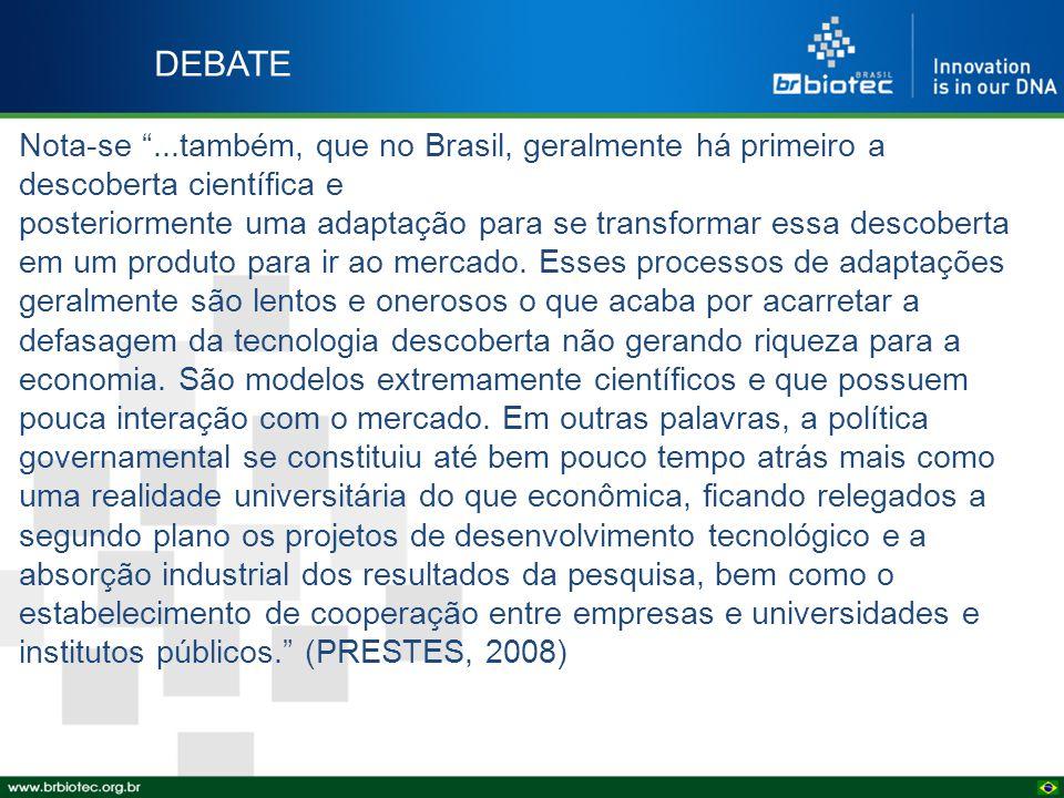 """DEBATE Nota-se """"...também, que no Brasil, geralmente há primeiro a descoberta científica e posteriormente uma adaptação para se transformar essa desco"""