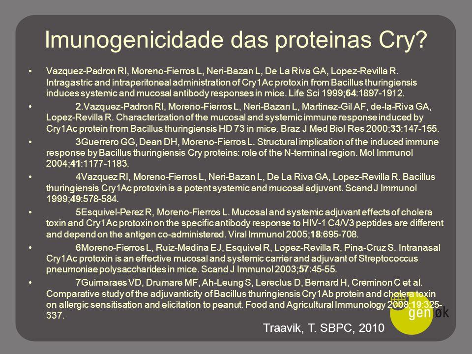 Imunogenicidade das proteinas Cry? Vazquez-Padron RI, Moreno-Fierros L, Neri-Bazan L, De La Riva GA, Lopez-Revilla R. Intragastric and intraperitoneal