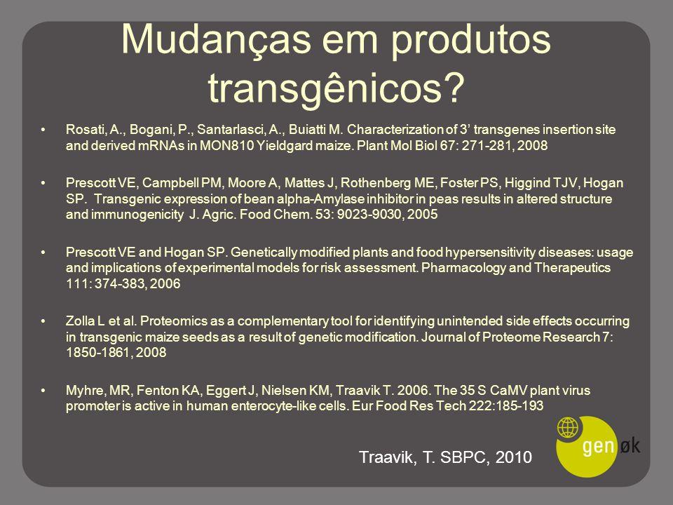 Mudanças em produtos transgênicos? Rosati, A., Bogani, P., Santarlasci, A., Buiatti M. Characterization of 3' transgenes insertion site and derived mR