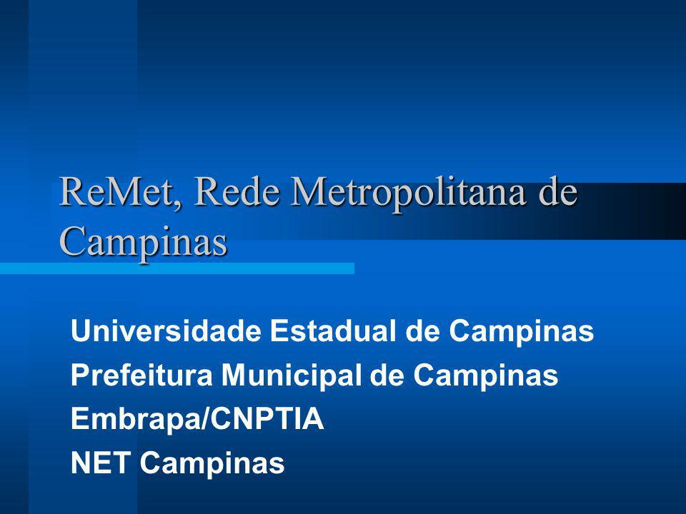 ReMet, Rede Metropolitana de Campinas Universidade Estadual de Campinas Prefeitura Municipal de Campinas Embrapa/CNPTIA NET Campinas