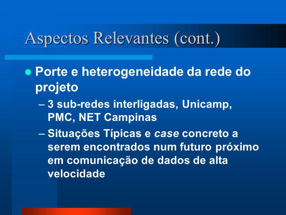 Aspectos Relevantes (cont.) Porte e heterogeneidade da rede do projeto –3 sub-redes interligadas, Unicamp, PMC, NET Campinas –Situações Típicas e case