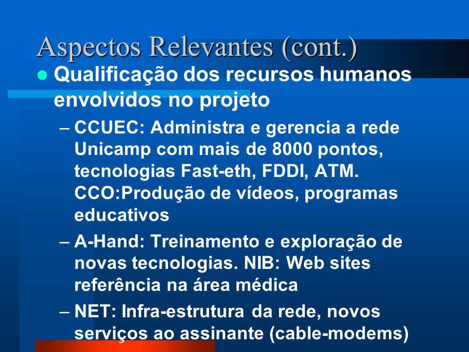 Aspectos Relevantes (cont.) Qualificação dos recursos humanos envolvidos no projeto –CCUEC: Administra e gerencia a rede Unicamp com mais de 8000 pontos, tecnologias Fast-eth, FDDI, ATM.