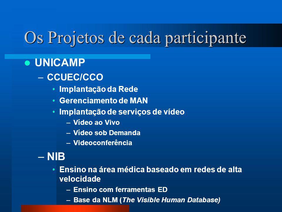 Os Projetos de cada participante UNICAMP –CCUEC/CCO Implantação da Rede Gerenciamento de MAN Implantação de serviços de vídeo –Vídeo ao Vivo –Vídeo so