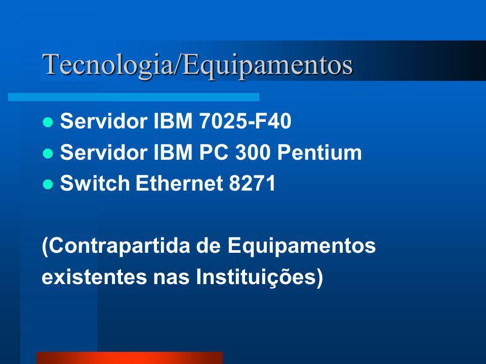 Tecnologia/Equipamentos Servidor IBM 7025-F40 Servidor IBM PC 300 Pentium Switch Ethernet 8271 (Contrapartida de Equipamentos existentes nas Instituições)