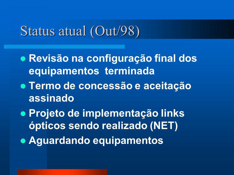Status atual (Out/98) Revisão na configuração final dos equipamentos terminada Termo de concessão e aceitação assinado Projeto de implementação links ópticos sendo realizado (NET) Aguardando equipamentos