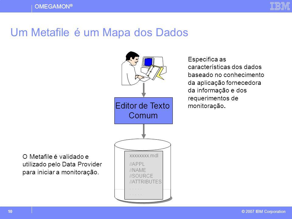 OMEGAMON ® © 2007 IBM Corporation 10 Editor de Texto Comum Especifica as características dos dados baseado no conhecimento da aplicação fornecedora da informação e dos requerimentos de monitoração.