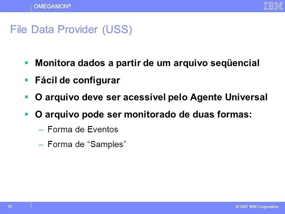 OMEGAMON ® © 2007 IBM Corporation 13 File Data Provider (USS)  Monitora dados a partir de um arquivo seqüencial  Fácil de configurar  O arquivo deve ser acessível pelo Agente Universal  O arquivo pode ser monitorado de duas formas: –Forma de Eventos –Forma de Samples
