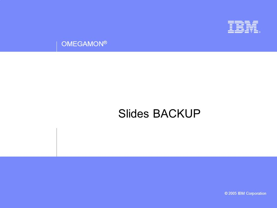 OMEGAMON ® © 2005 IBM Corporation Slides BACKUP