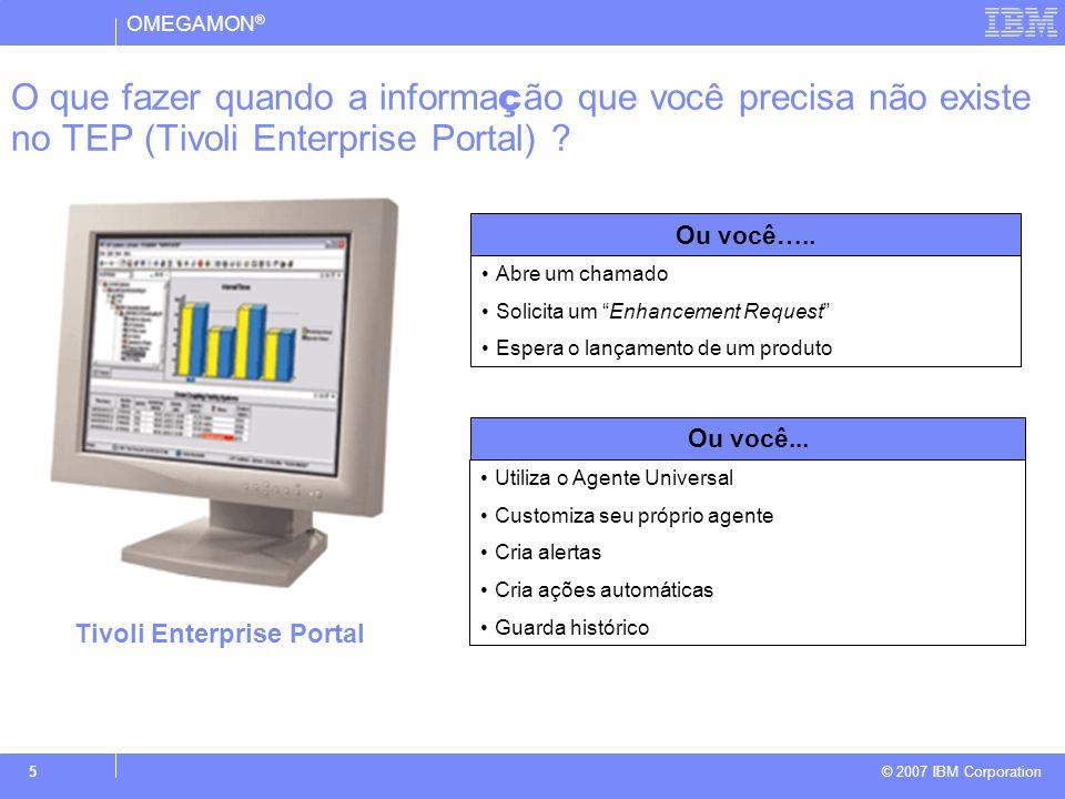 OMEGAMON ® © 2007 IBM Corporation 6 Permite que dados customizados sejam integrados ao OMEGAMON DE/XE: Coleta dados de diferentes fontes Monitora somente os atributos de seu interesse Permite que você atenda rapidamente as mudanças de cenários.
