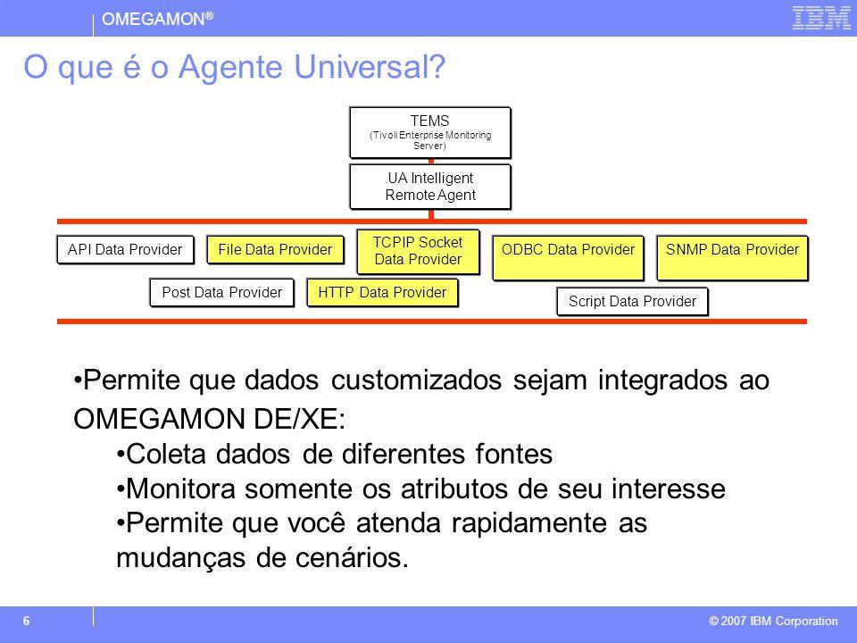 OMEGAMON ® © 2007 IBM Corporation 7 Arquitetura Tivoli OMEGAMON CNP Browser Cliente HTTP / IIOP Apresentação DP Windows / Unix Agente Universal SQL/ RPC TEPS Servidores de Gerenciamento TEMS - HUB RPC UDB SQL SQL/RPC Gerenciamento De Recursos TEMS - Remoto Proxy/Agente RPC z/OS CICS IMS DB2 Stor Net z/OS
