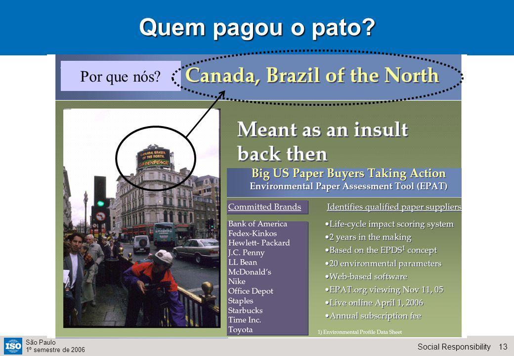 13Social Responsibility São Paulo 1º semestre de 2006 Quem pagou o pato Por que nós