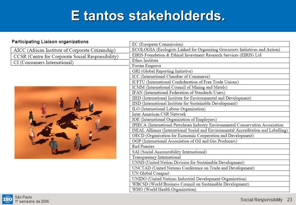 23Social Responsibility São Paulo 1º semestre de 2006 E tantos stakeholderds.