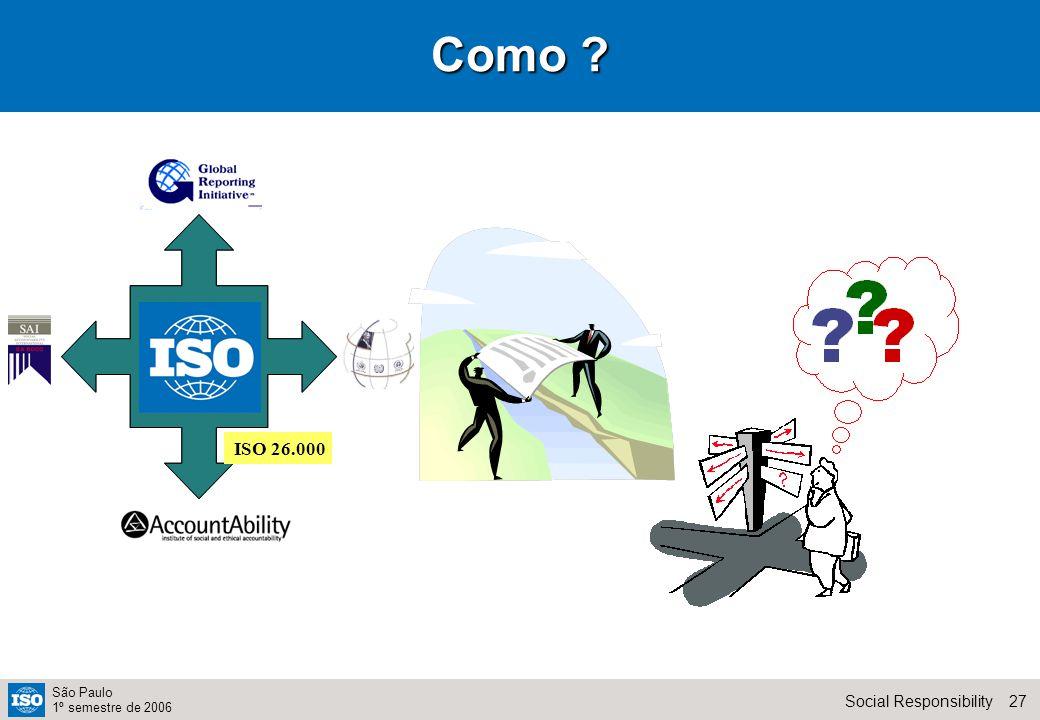 27Social Responsibility São Paulo 1º semestre de 2006 Como ISO 26.000