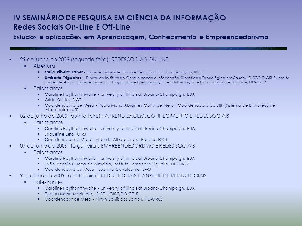 IV SEMINÁRIO DE PESQUISA EM CIÊNCIA DA INFORMAÇÃO Redes Sociais On-Line E Off-Line Estudos e aplicações em Aprendizagem, Conhecimento e Empreendedoris