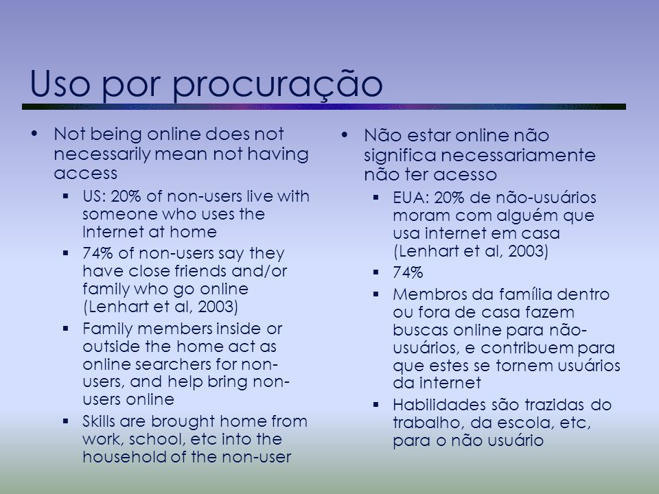 Uso por procuração Not being online does not necessarily mean not having access  US: 20% of non-users live with someone who uses the Internet at home  74% of non-users say they have close friends and/or family who go online (Lenhart et al, 2003)  Family members inside or outside the home act as online searchers for non- users, and help bring non- users online  Skills are brought home from work, school, etc into the household of the non-user Não estar online não significa necessariamente não ter acesso  EUA: 20% de não-usuários moram com alguém que usa internet em casa (Lenhart et al, 2003)  74%  Membros da família dentro ou fora de casa fazem buscas online para não- usuários, e contribuem para que estes se tornem usuários da internet  Habilidades são trazidas do trabalho, da escola, etc, para o não usuário