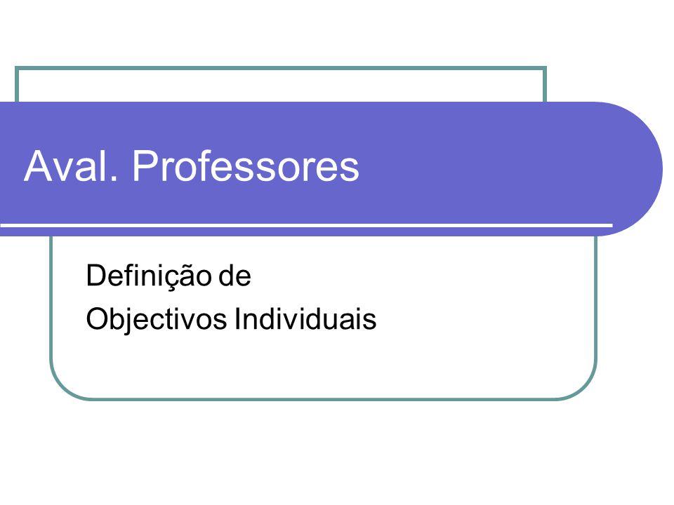 Aval. Professores Definição de Objectivos Individuais