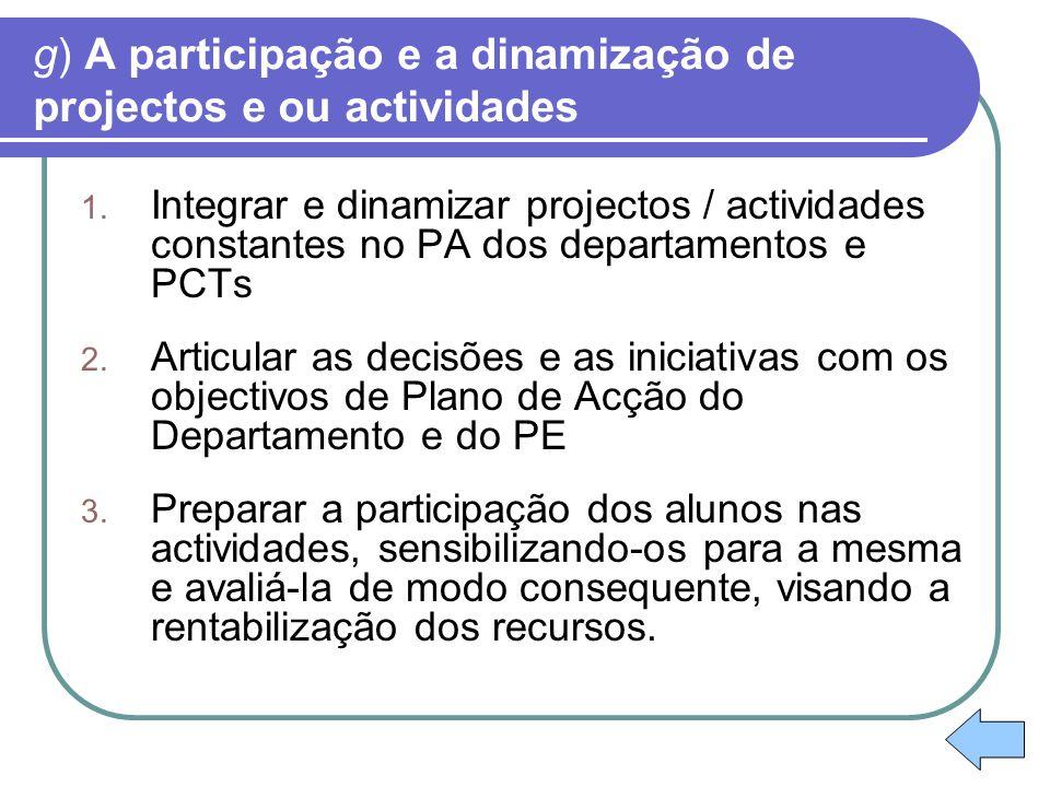 g) A participação e a dinamização de projectos e ou actividades 1. Integrar e dinamizar projectos / actividades constantes no PA dos departamentos e P