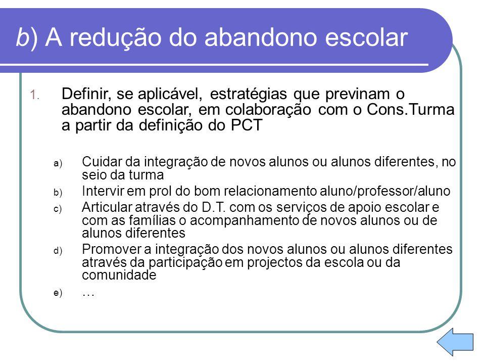 b) A redução do abandono escolar 1. Definir, se aplicável, estratégias que previnam o abandono escolar, em colaboração com o Cons.Turma a partir da de