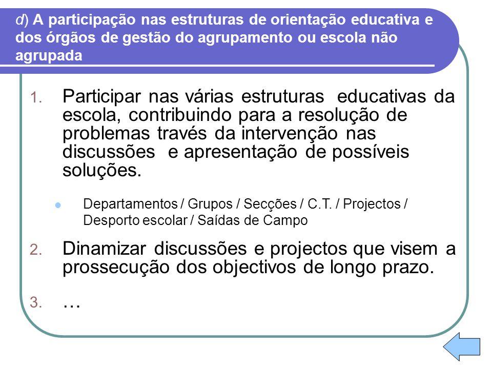 d) A participação nas estruturas de orientação educativa e dos órgãos de gestão do agrupamento ou escola não agrupada 1. Participar nas várias estrutu