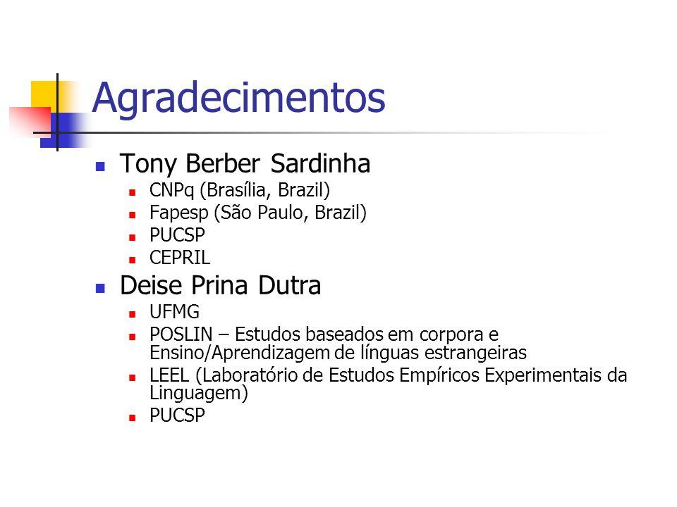 Agradecimentos Tony Berber Sardinha CNPq (Brasília, Brazil) Fapesp (São Paulo, Brazil) PUCSP CEPRIL Deise Prina Dutra UFMG POSLIN – Estudos baseados e