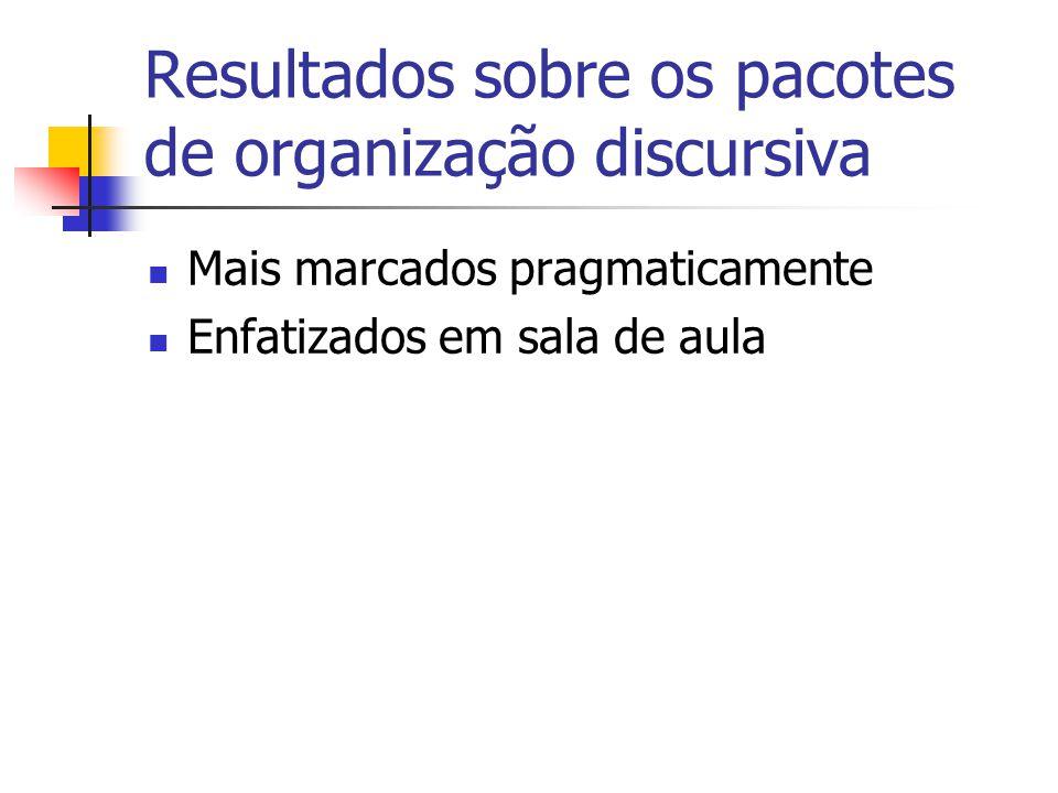 Resultados sobre os pacotes de organização discursiva Mais marcados pragmaticamente Enfatizados em sala de aula
