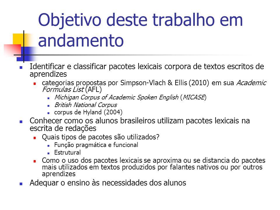 Objetivo deste trabalho em andamento Identificar e classificar pacotes lexicais corpora de textos escritos de aprendizes categorias propostas por Simp