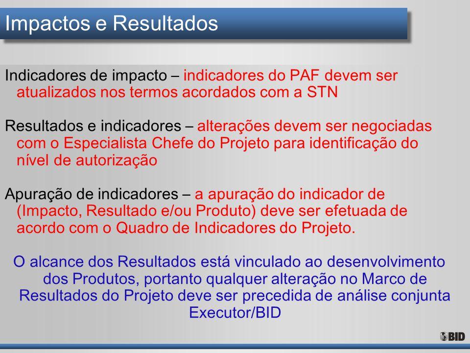 Impactos e Resultados Indicadores de impacto – indicadores do PAF devem ser atualizados nos termos acordados com a STN Resultados e indicadores – alte