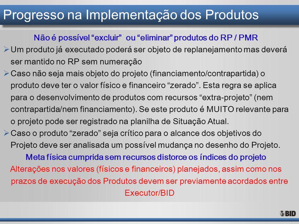 """Progresso na Implementação dos Produtos Não é possível """"excluir"""" ou """"eliminar"""" produtos do RP / PMR  Um produto já executado poderá ser objeto de rep"""