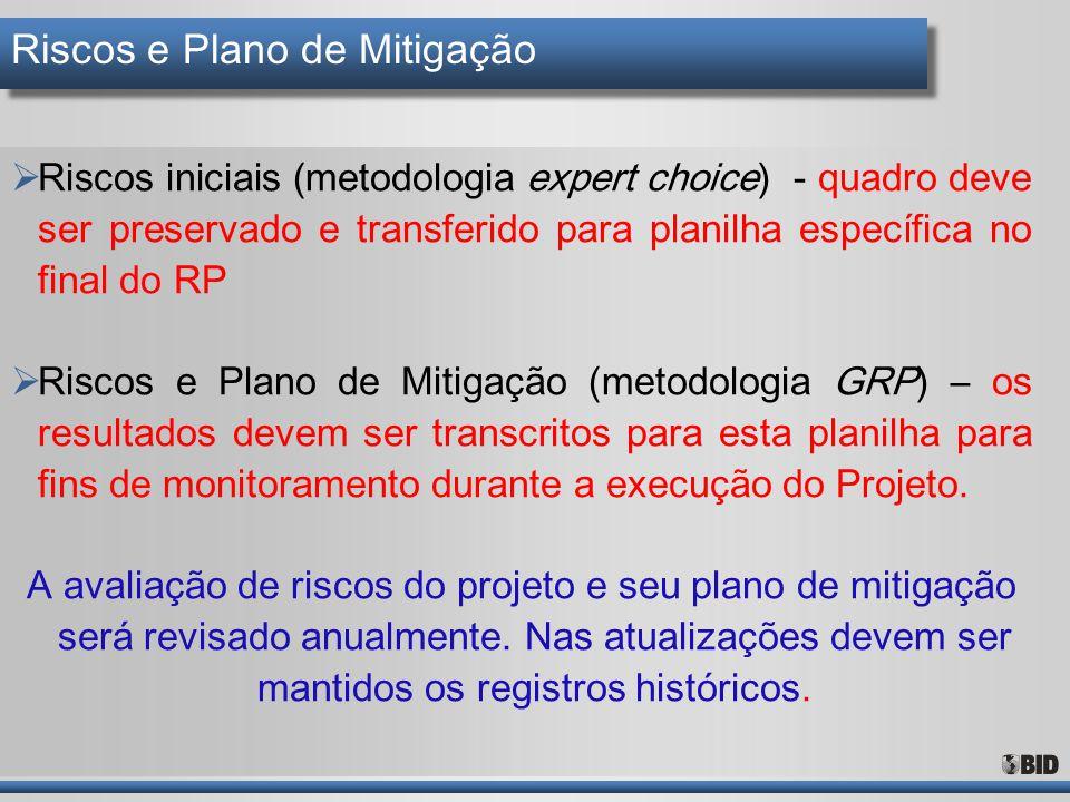 Riscos e Plano de Mitigação  Riscos iniciais (metodologia expert choice) - quadro deve ser preservado e transferido para planilha específica no final