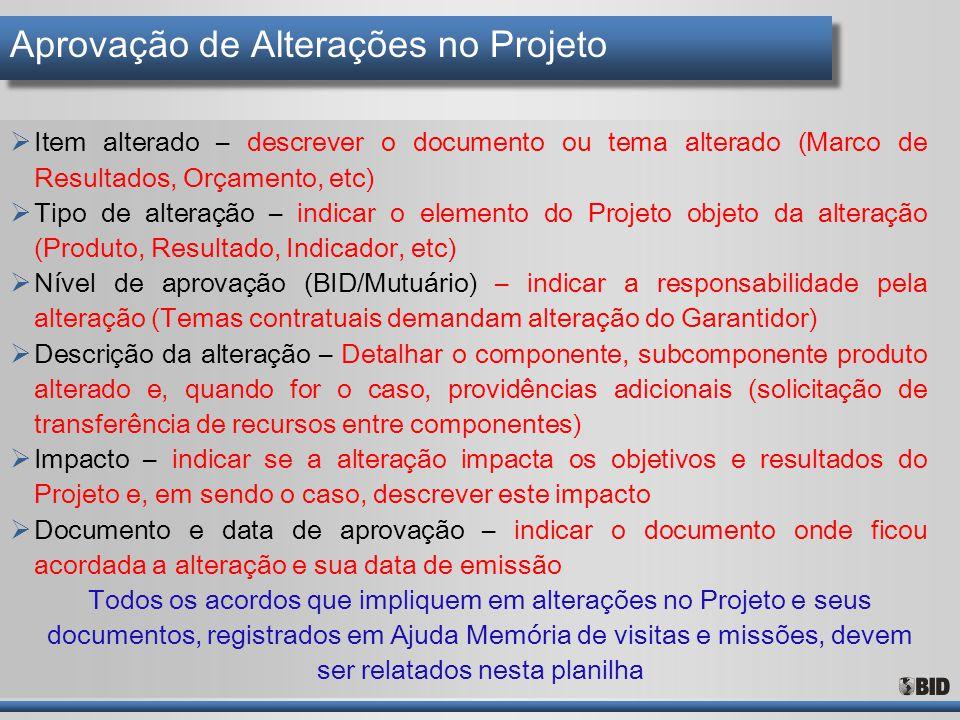 Aprovação de Alterações no Projeto  Item alterado – descrever o documento ou tema alterado (Marco de Resultados, Orçamento, etc)  Tipo de alteração